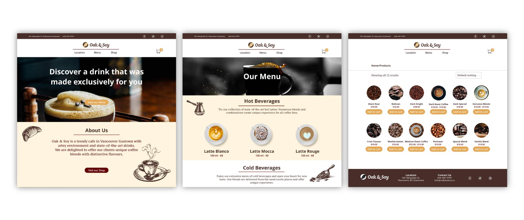 web design for a coffee shop in Vancouver