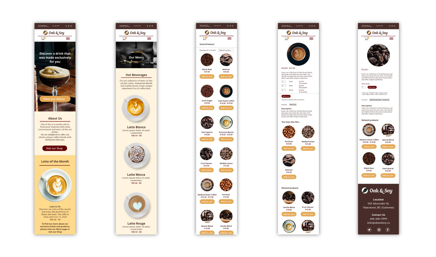 web design, web development for a coffee shop in Vancouver