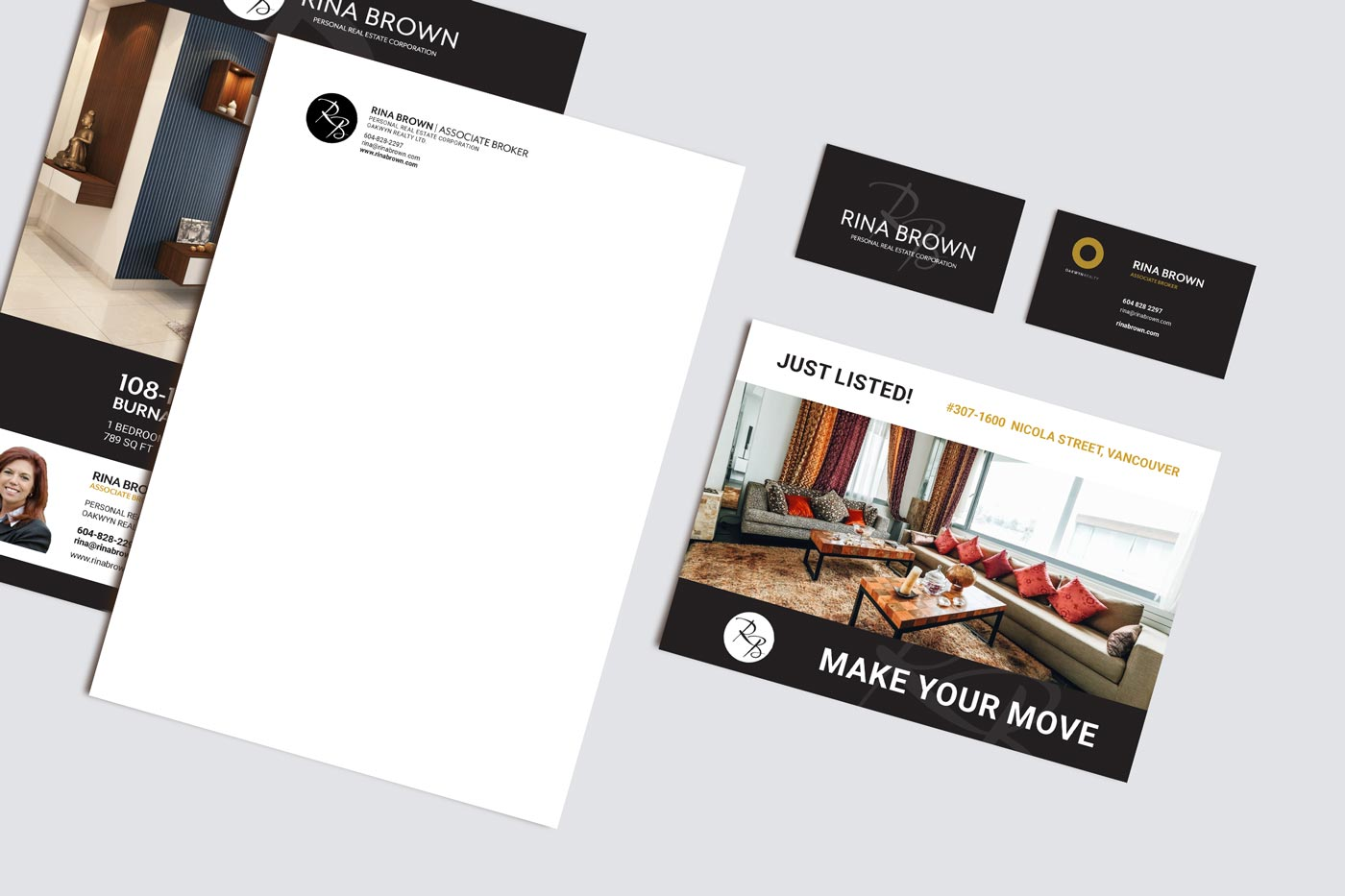 logo, letterhead and postcard design for real estate agents