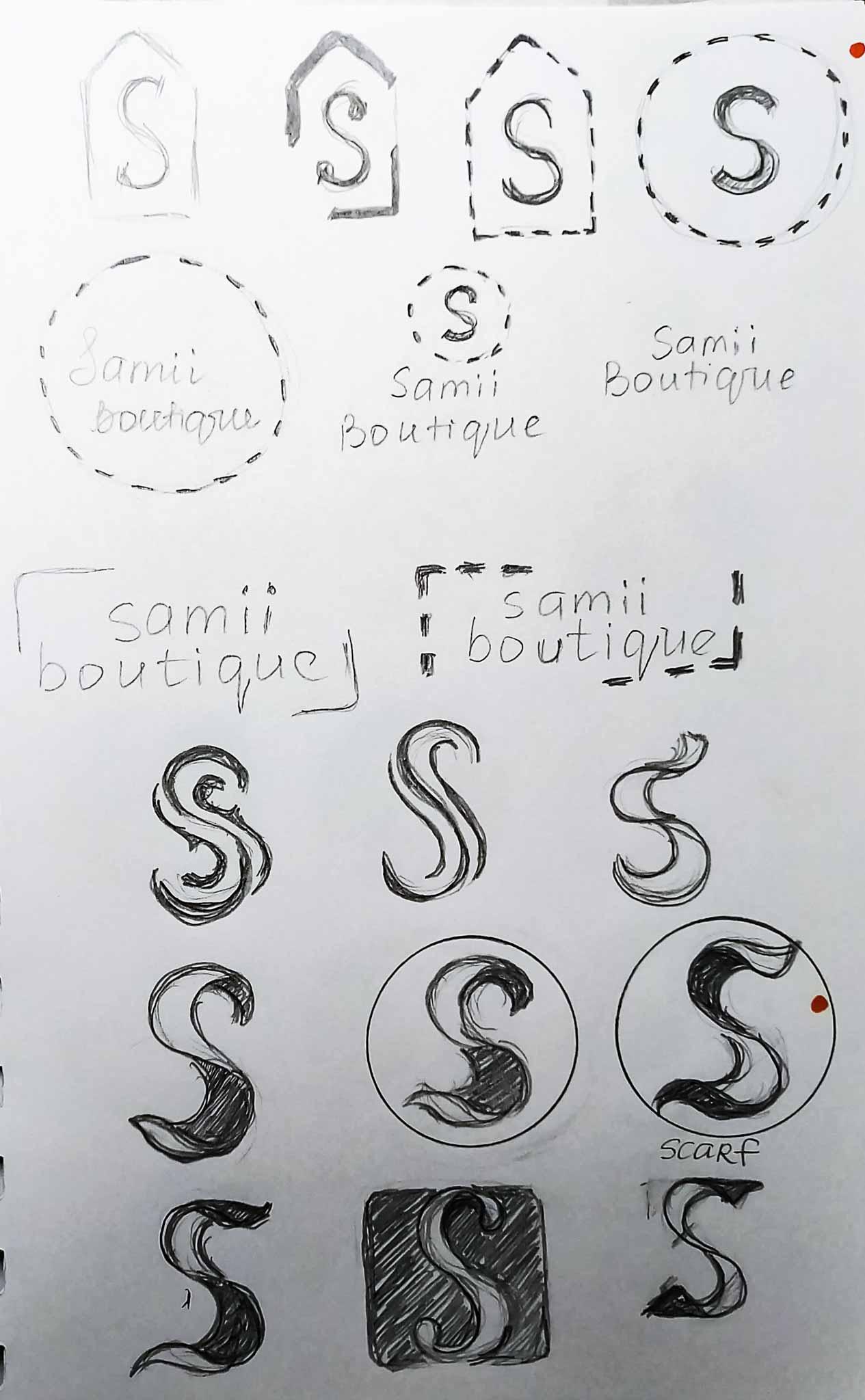 sketch for a boutique logo design