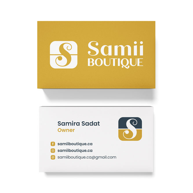 business card design for a boutique in Vancouver, Canada